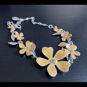 Enameled flower adjustable bracelet